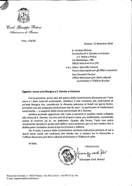Lettera del Vescovo per la nuova chiesa